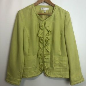 Conrad C lime green ruffled hedges lined blazer 12